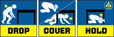 Drop, cover and hold during an earthquake